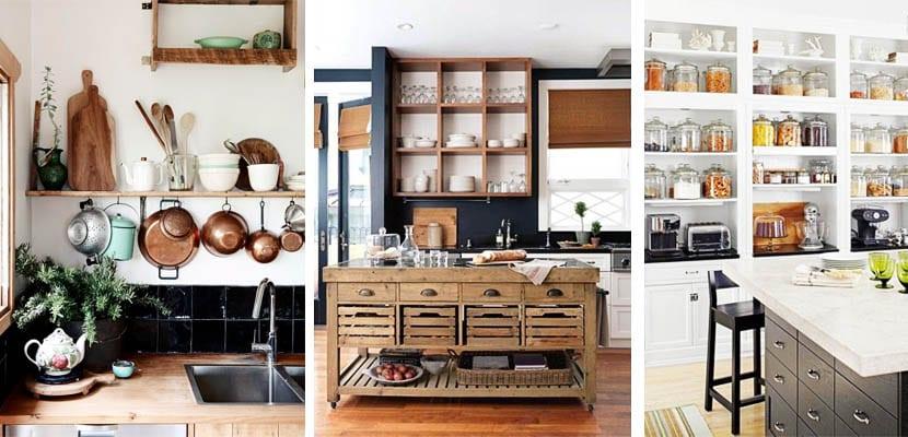 Estantes abiertos para decorar la cocina - Estanterias para cocinas ...