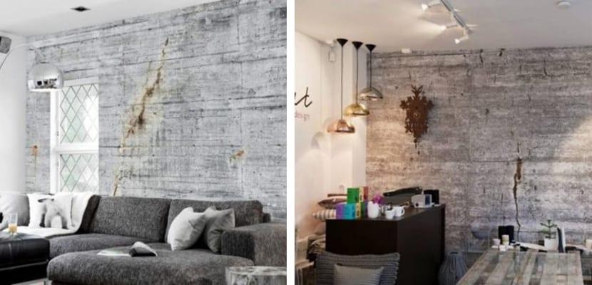 Papel pintado imitando muros de hormigón