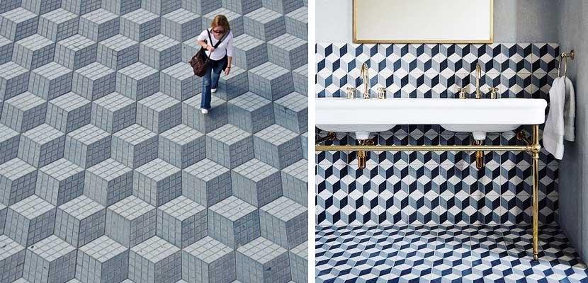 Suelos con patrones tridimensionales