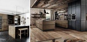Cocinas de madera oscuras rústico indualtriales