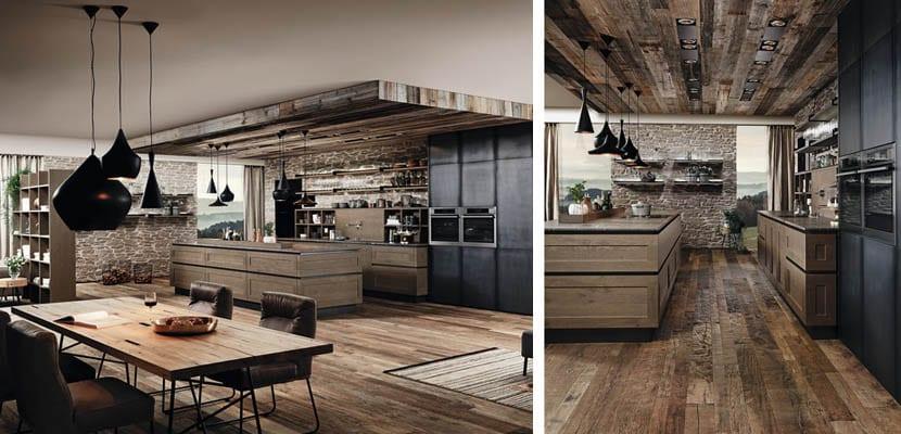 Cocinas de madera de estilo r stico industrial for Muebles industriales madera y hierro