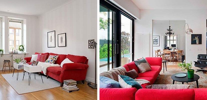 Decorar el sal n con un sof rojo - Salon con sofa rojo ...