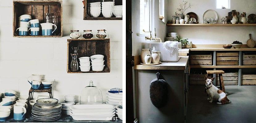 Cajas de madera cocina