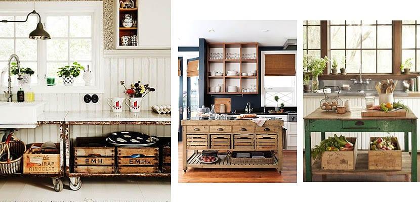 Cajas de madera para organizar la cocina
