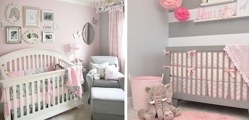 Dormitorios en gris y rosa for Como decorar un dormitorio de bebe