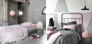 Dormitorios gris y rosa