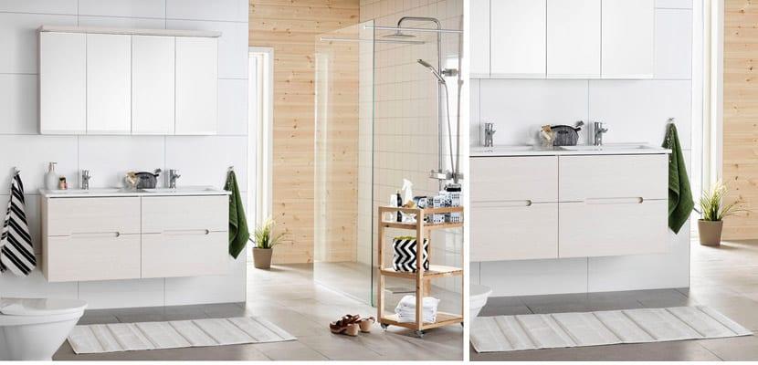Baños luminosos en tonos blanco y madera