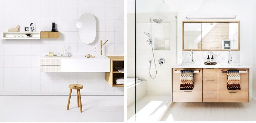 Cuartos de baño luminosos en blanco y madera | Decoora