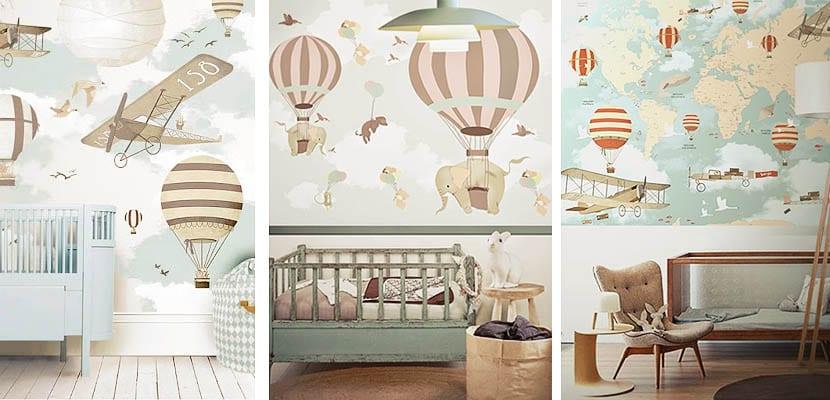 Como decorar con globos aerost ticos el dormitorio infantil - Papel pintado habitacion bebe ...