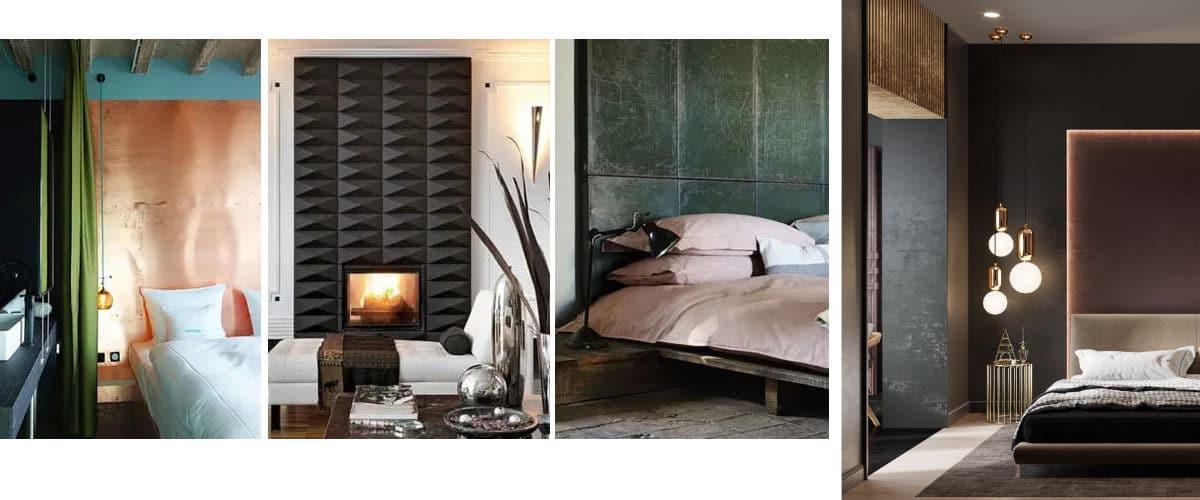 Pon un panel metálico decorativo en tu dormitorio