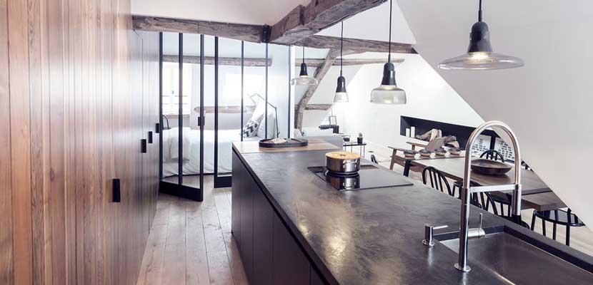 Apartamento rústico y moderno espacios abiertos