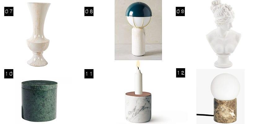 Objetos de mármol para decorar una mesa o cómoda