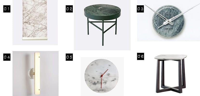 Mesas y artículos de pared de mármol
