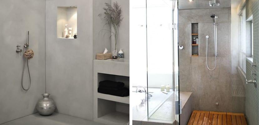 Ducha en un baño con cemento