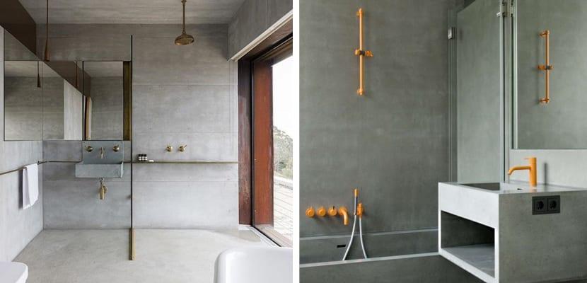 Baño con cemento tonos dorados