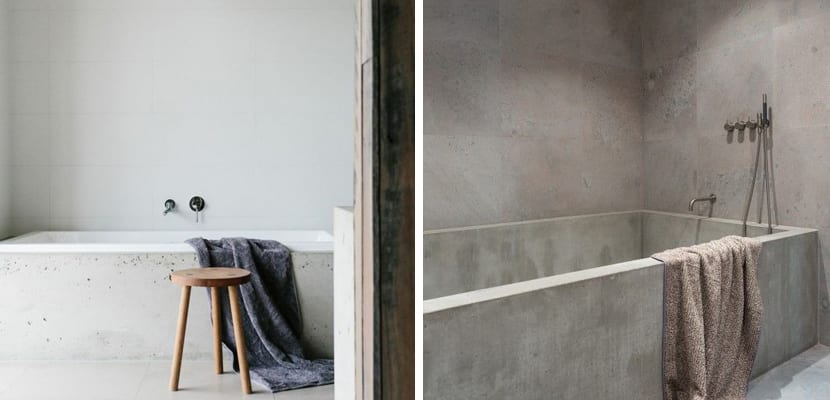 Baño con cemento estilo minimalista