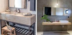 Baño con cemento estilo industrial