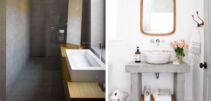 Baño con cemento y madera