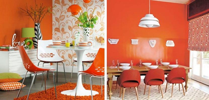 Comedor en tonos claros naranjas