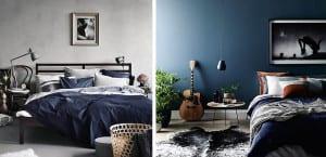 Dormitorios masculinos en tonos azules