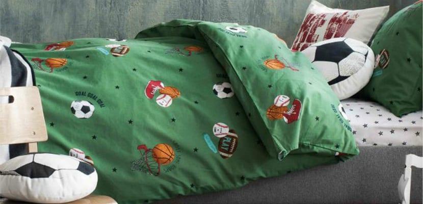 Textiles en habitación infantil deportiva