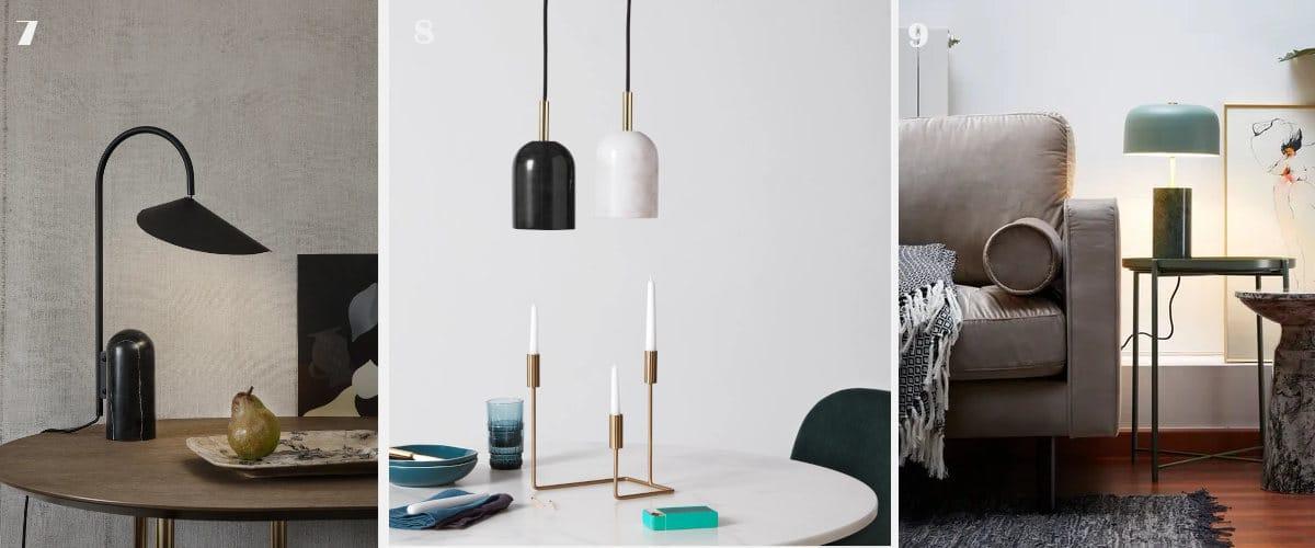 Las lámparas de mármol quedan bien en una vivienda