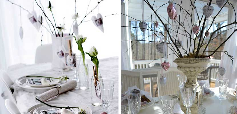 Mesas San Valentín blanco