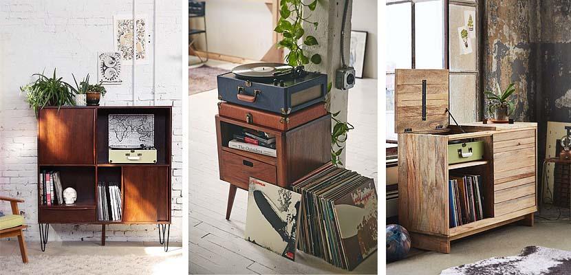 Muebles de madera para organizar discos de vinilo