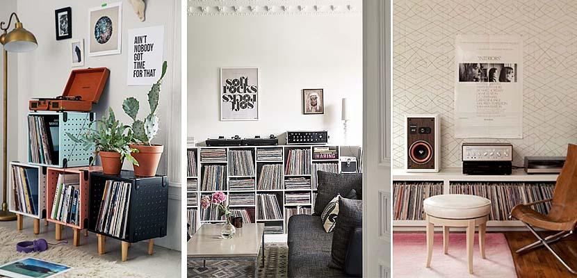 Muebles modulares para organizar discos de vinilo