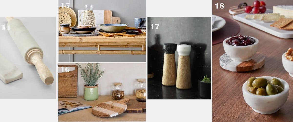 Los objetos de mármol quedan bien en la cocina