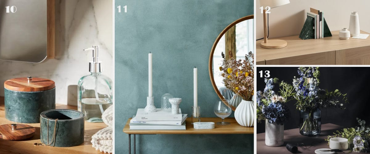Hay muchos objetos decorativos de mármol