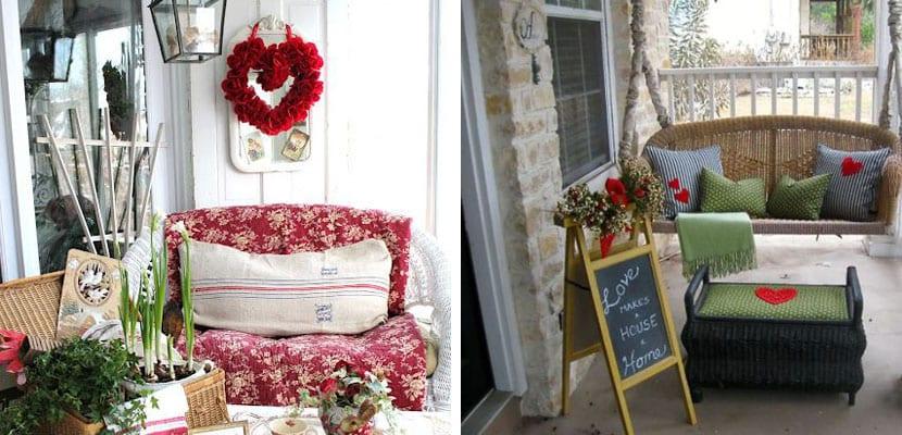 Zona de descanso en el porche decorada para san Vanlentín