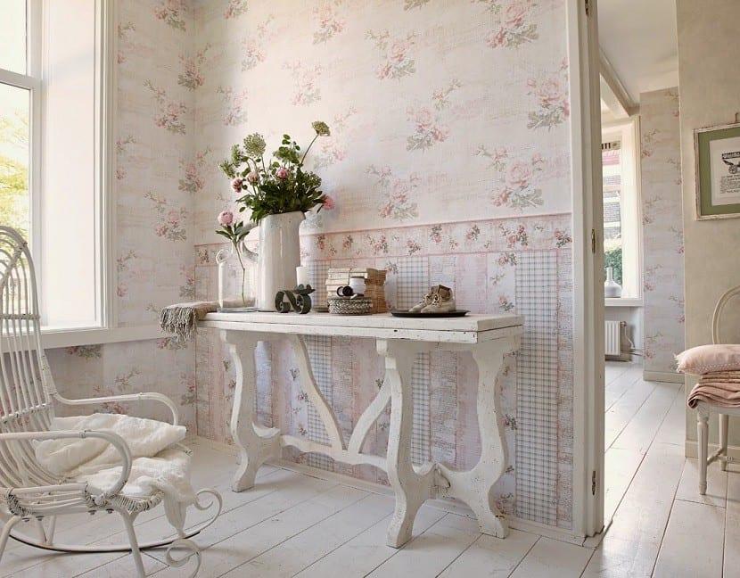 C mo decorar tu casa con el estilo shabby chic - Papel pintado para recibidores ...