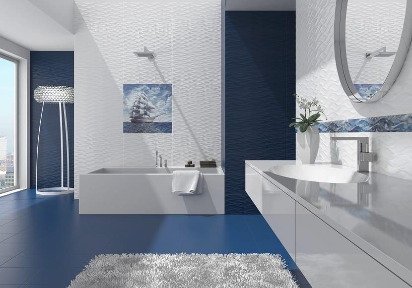 El color azul para decorar el cuarto de baño