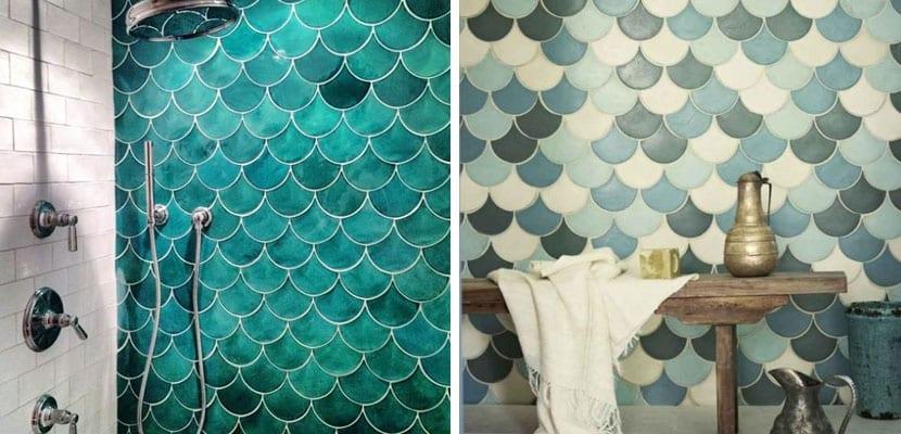 Azulejos con escamas mezclan tonos