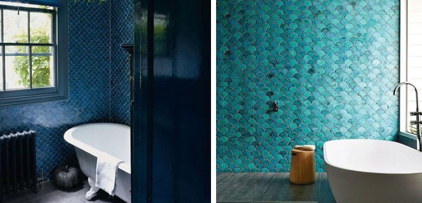 Decorar el ba o con azulejos de escamas for Que son los azulejos
