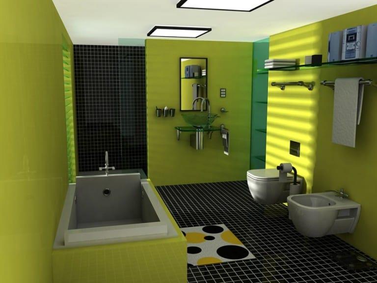 El color verde en la decoración del cuarto de baño   Decoora