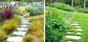 Caminos de jardín con baldosas