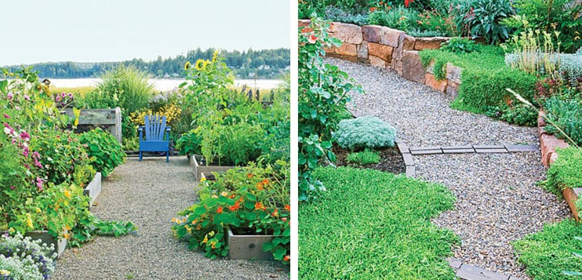 Caminos de jardín con gravilla