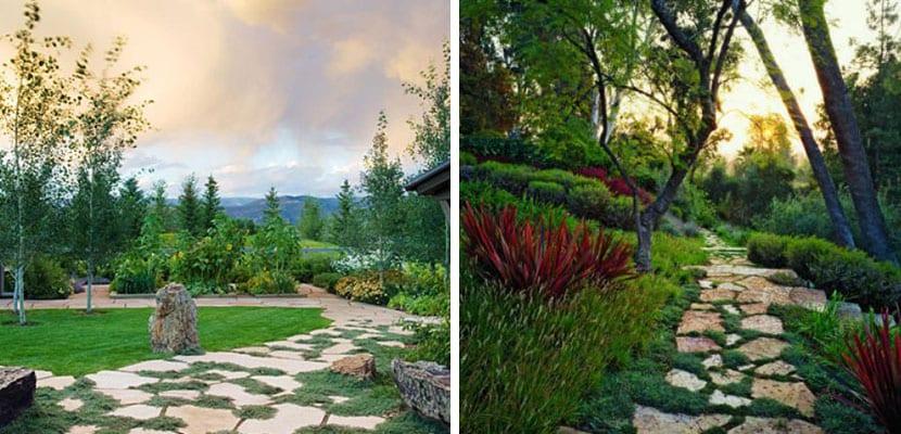 Caminos de jardín con piedras