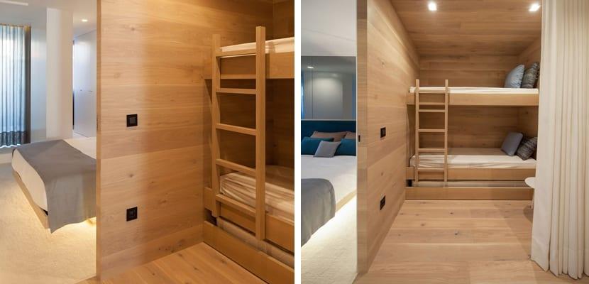 Dormitorio de estilo minimalista en madera