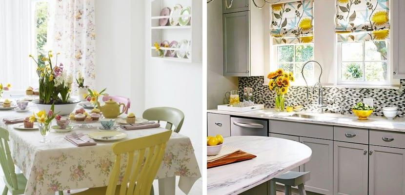Estampado floral en la cocina primaveral