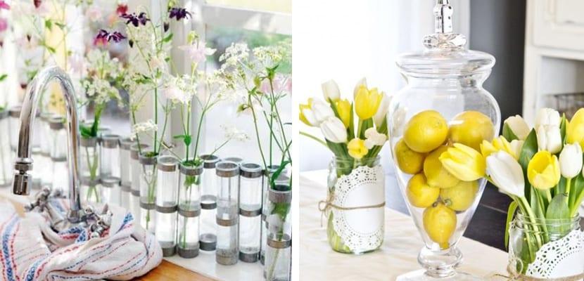 Flores en la cocina primaveral