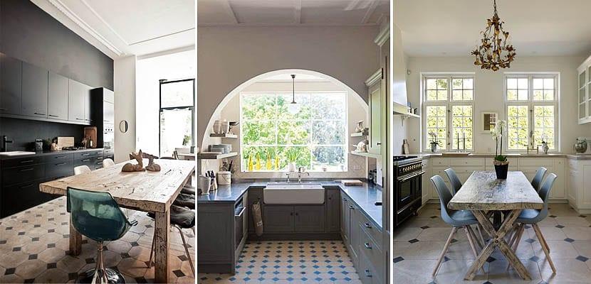 Cocinas con suelos de rombos