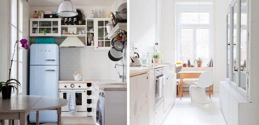 Cocinas muy pequeñas en tonos blancos