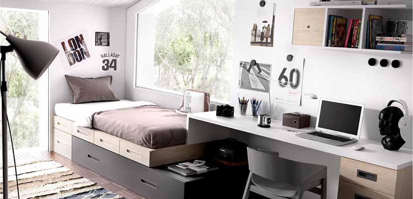 Dormitorios juveniles en gris