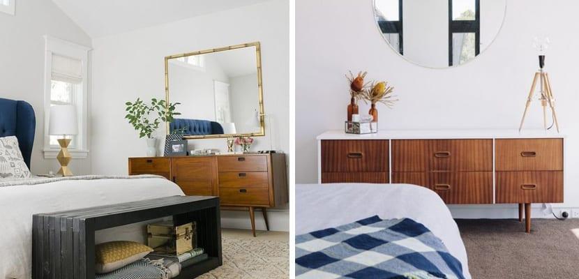 Dormitorios vintage con cómoda antigua