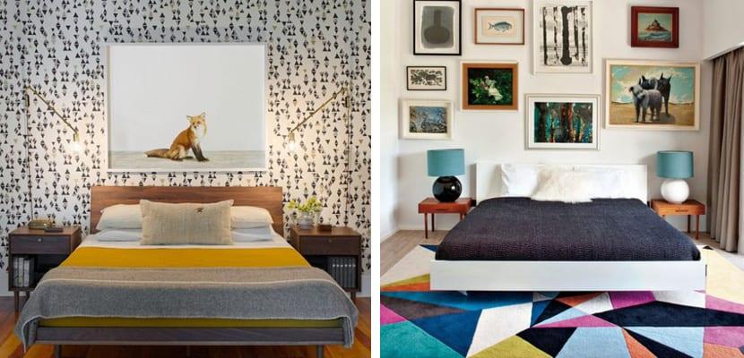 Dormitorios vintage con toques geométricas