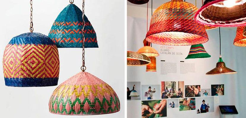 Lámparas de mimbre en colores