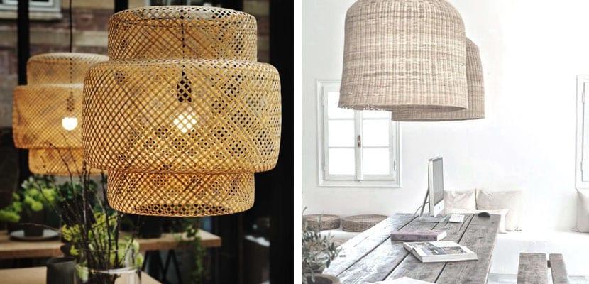 Lámparas de mimbre de estilo elegante